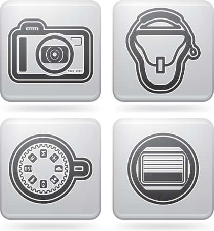 Photography tools   equipment icons set Illustration