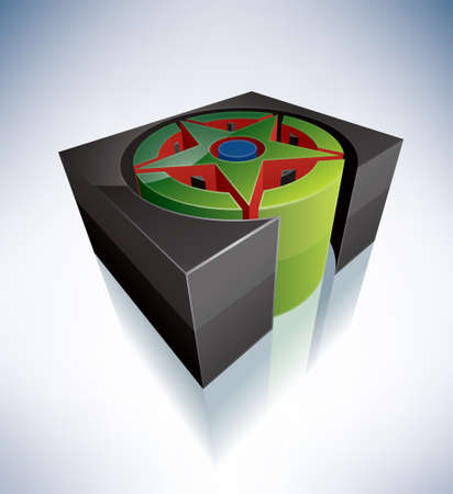 wicca: Three-dimensional religion symbols  Wicca