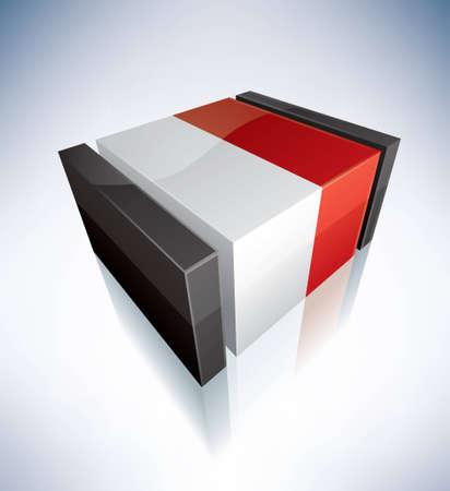 Three-dimensional Flags of Europe  Principality of Monaco Vector