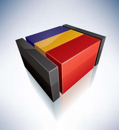 romania: Three-dimensional Flags of Europe  Romania Illustration