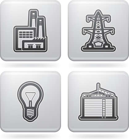 Industry   Heavy industry icons set Vector