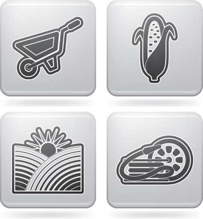 tillage: Los iconos de la agricultura campesina Vectores