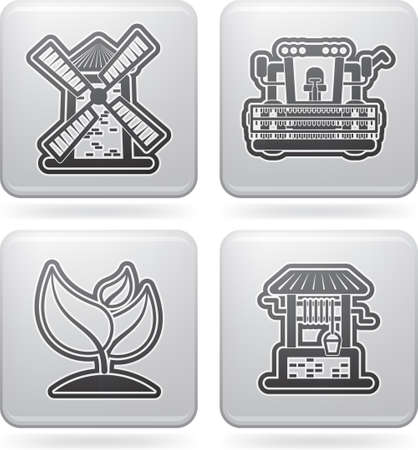 water well: Farm  agriculture  icons Illustration