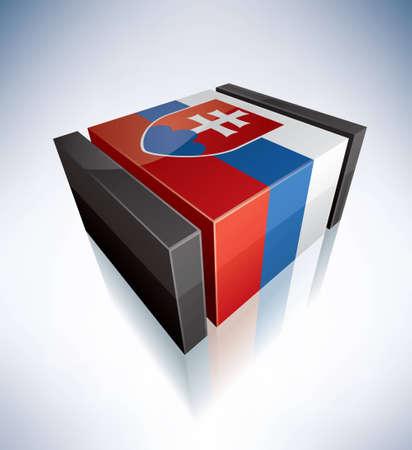 slovak: Three-dimensional Flags of Europe  Slovak Republic