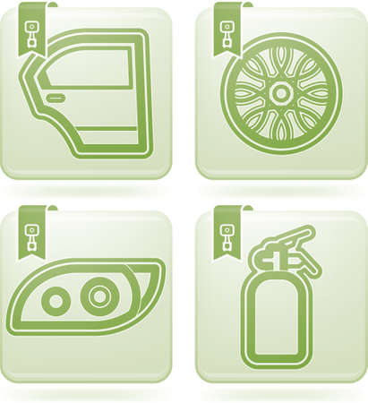 olivine: Car parts and accessories Illustration