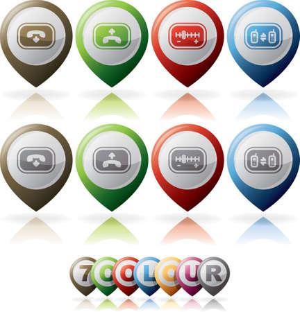 hang up: Old-fashion phone icons set