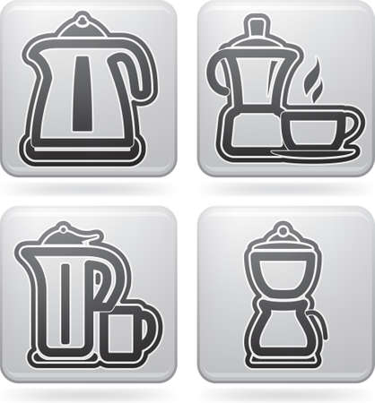 electric tea kettle: Kitchen utensils Illustration