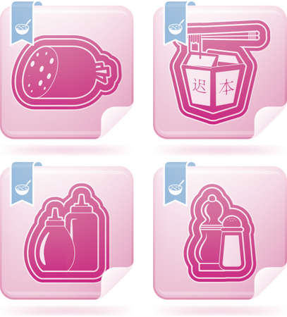 chinese fast food: Bebidas Alimentaci�n iconos conjunto