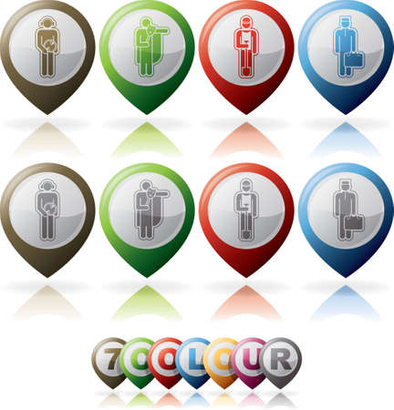 Mans occupation icons set Vector