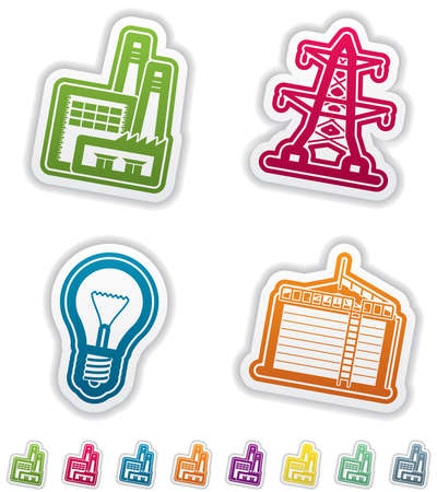 Industry   Heavy industry icons set Stock Vector - 15491886