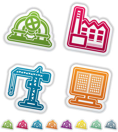 Industry   Heavy industry icons set Stock Vector - 15491885