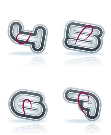 4 5: digits icons set   4, 5, 6, 7