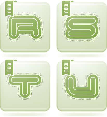 Custom made modern capital letters   R, S, T, U