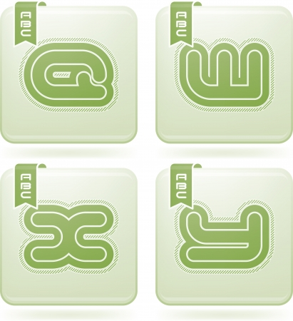 olivine: Custom made modern capital letters   Q, W, X, Y Illustration