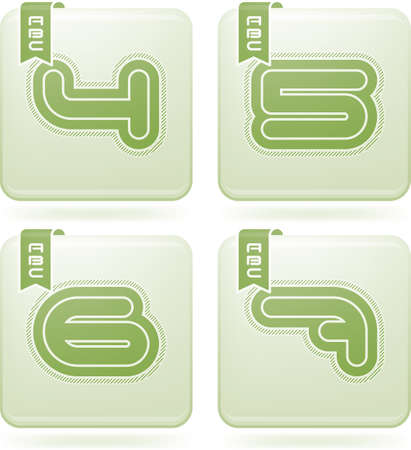 olivine: Custom made modern digits   4, 5, 6, 7