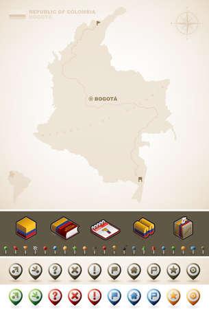 la bandera de colombia: Rep�blica de Colombia y de Am�rica del Norte Maps, adem�s de un juego extra de iconos isom�tricos s�mbolos cartogr�ficos establecer parte de los Mapas del Mundo Vectores