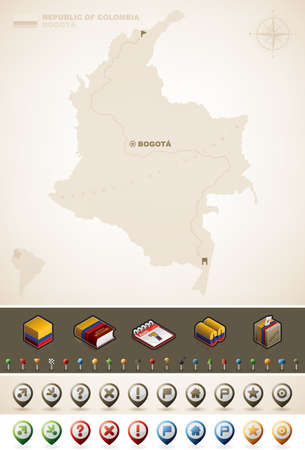 Republic of Colombia and North America Maps, plus extra set of isometric icons cartography symbols set part of the World Maps