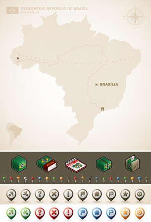 federative republic of brazil: Federative Republic of Brazil and North America Maps, plus extra set of isometric icons   cartography symbols set  part of the World Maps  Illustration