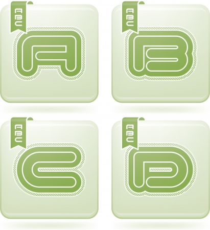 custom letters: Custom made modern capital letters   A, B, C, D Illustration