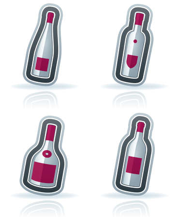 4 alcohol bottles icons Stock Vector - 15776348