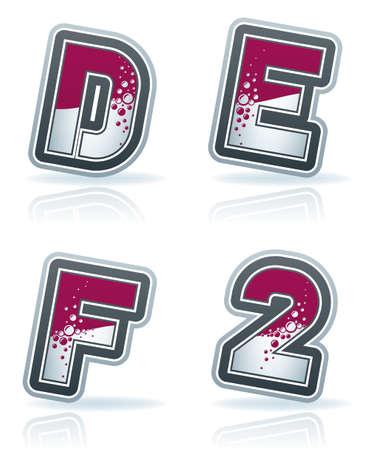 custom letters: Custom made capital letters icons set   D, E, F, 2