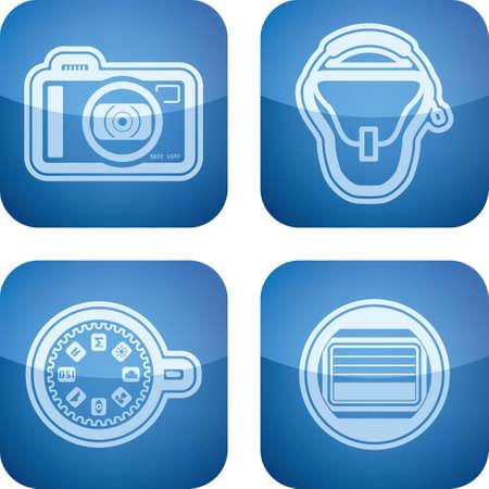 photo hardware: Photography tools   equipment icons set Illustration