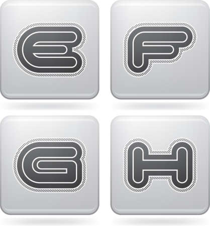 custom letters: Custom made modern capital letters   E, F, G, H