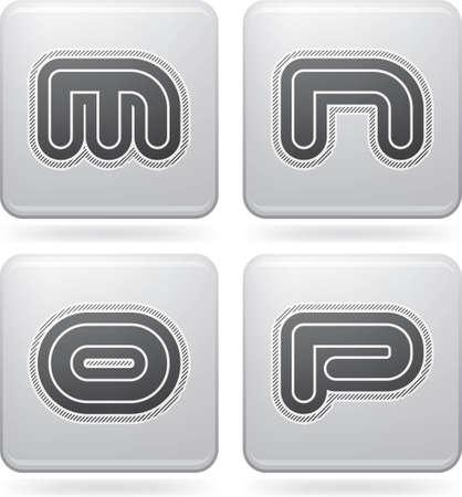 letter p: Custom made modern digits   M, N O, P