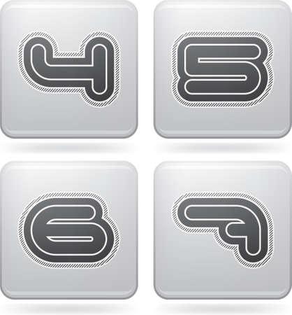 6 7: Custom made modern digits   4, 5, 6, 7