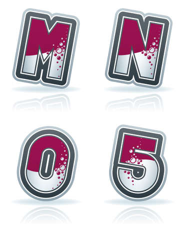 letter m: Custom made blue-red  bubble  digits and capital letters