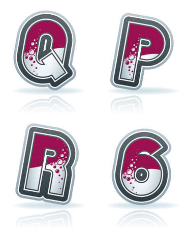 custom letters: Custom made blue-red  bubble  digits and capital letters