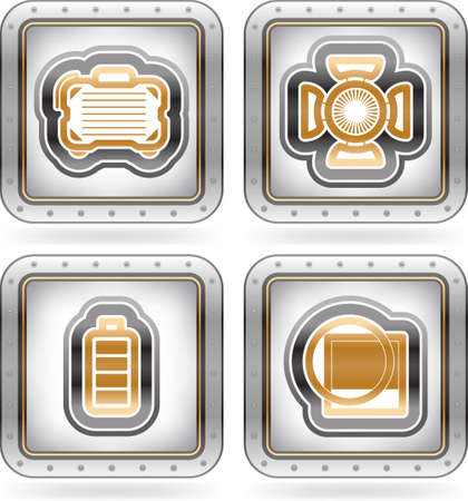 photo hardware: Web icons  internet icons , pictured here from left to right   Camera bag, Studio light, Battery indicator, Lens filter   The artwork are saved as Illustrator EPS version 10 with n transparency objects   part of the 2 Colors Chrome Icons Set
