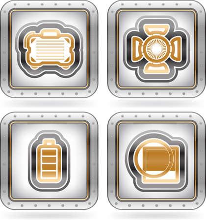 Web icons internet icons, hier von links nach rechts Kameratasche, Studio Licht, Batterieanzeige, Lens-Filter Das Kunstwerk abgebildet werden als Illustrator EPS-Version 10 mit n Transparenz Objekte Teil der 2 Farben Chrome Icons Set gespeichert Standard-Bild - 16157171