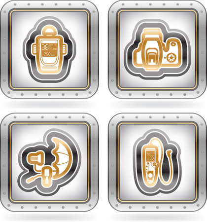 photo hardware: Web icons  internet icons , pictured here from left to right   Light meter, Camera top view, Studio light   umbrella, Camera cable release   The artwork are saved as Illustrator EPS version 10 with n transparency objects   part of the 2 Colors Chrome Icon Illustration