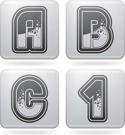 custom letters: Custom made bubble  digits and capital letters