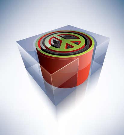 peace symbol: Three-dimensional symbol  Peace symbol Illustration