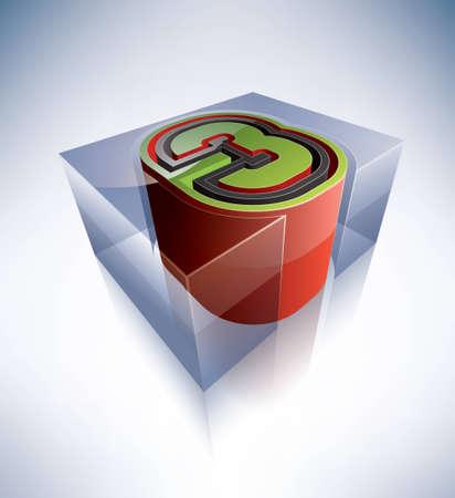 Three-dimensional alphabet  digit 3 Vector