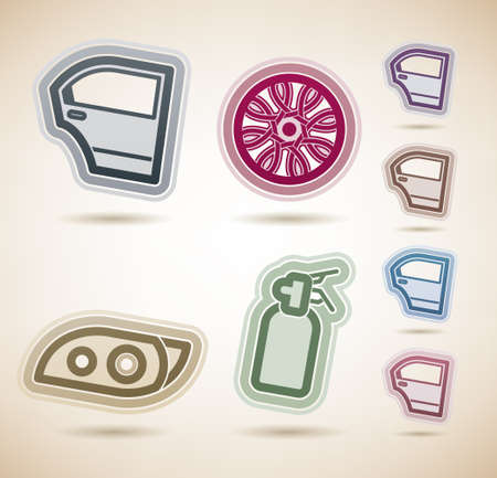 headlamp: Car parts and accessories Illustration