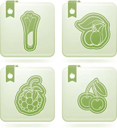 olivine: Healthy food - fruits and vegetables Illustration