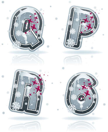 Winter digits and capital letters Stock Vector - 17095026