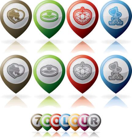 4 icons depicting symbols of Valentine Stock Vector - 17095071