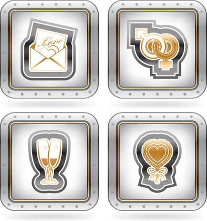 4 icons depicting symbols of Valentine Stock Vector - 18232106