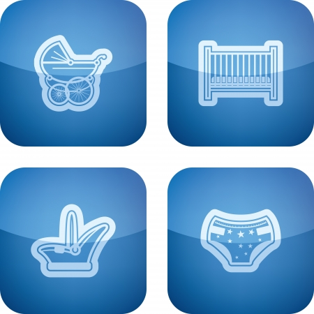 Four icons in relation to a Baby born time / Baby care objects, pictured here from left to right, top to bottom:  Baby buggy, Baby bed, Baby car seat, Nappy.   Illustration
