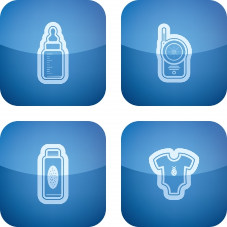 Four icons in relation to a Baby born time / Baby care objects, pictured here from left to right, top to bottom:  Baby bottle, Baby monitor, Baby powder, Baby rompers.