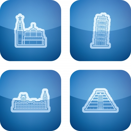 Most famous Architecture Landmarks Around the World, pictured here from left to right, top to bottom:  Kremlin (Russia), Leaning Tower of Pisa (Italy), House of Parliament (England), Chichen Itza (Peru). Illustration