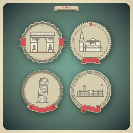 Most famous Architecture Landmarks Around the World, pictured here from left to right, top to bottom: Triumphal Arch (France), Kremlin (Russia), Leaning Tower of Pisa (Italy), House of Parliment (England), Vector icon badges set (transparent shadow appl Illustration
