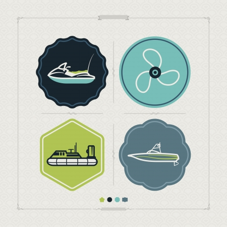 4 vector icons related to ships, boats and other objects/symbols in relation to boat swimming, pictured here from left to right, top to bottom: Water scooter (motor boat), Propeller, Hovercraft, Wakeboard boat. Tricolors icons set saved as an EPS versio