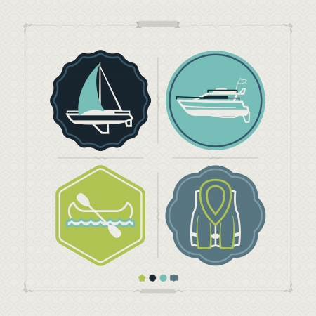 4 vector icons related to ships, boats and other objects/symbols in relation to boat swimming, pictured here from left to right, top to bottom: Sailboat (yacht), Motorboat, Canoe, Lifejacket. Tricolors icons set saved as an EPS version 10.