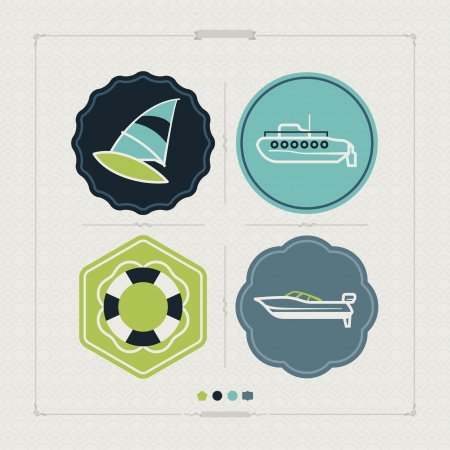 4 vector icons related to ships, boats and other objectssymbols in relation to boat swimming, pictured here from left to right, top to bottom:  Windsurfing, Submarine, Lifebuoy, Motorboat.  Tricolors icons set saved as an EPS version 10.