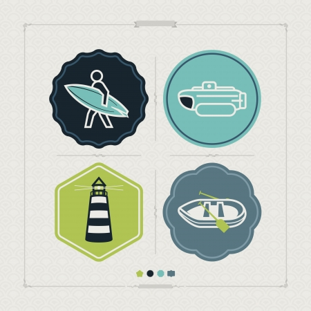 4 vector icons related to ships, boats and other objects/symbols in relation to boat swimming, pictured here from left to right, top to bottom: Surfer, Bathyscaphe, Lighthouse, Pontoon. Tricolors icons set saved as an EPS version 10.